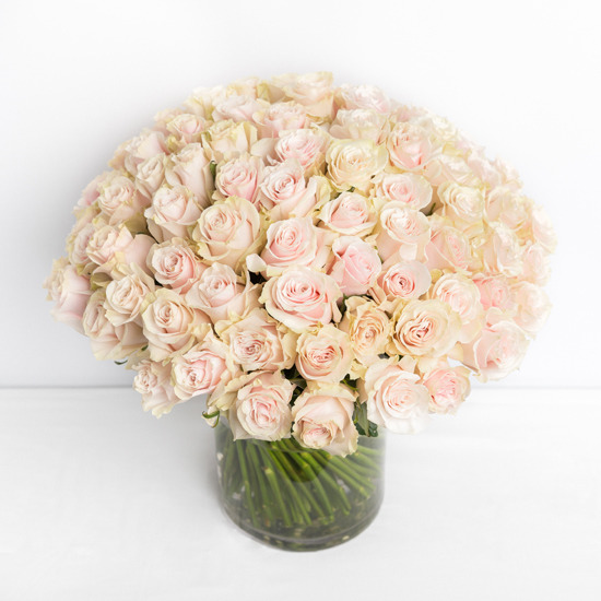 100 roses pink in a vase side view