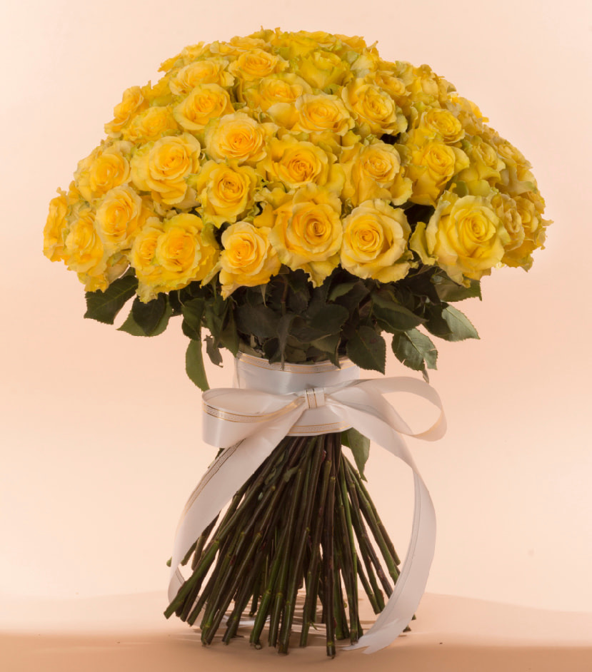 100 rose bouquet yellow