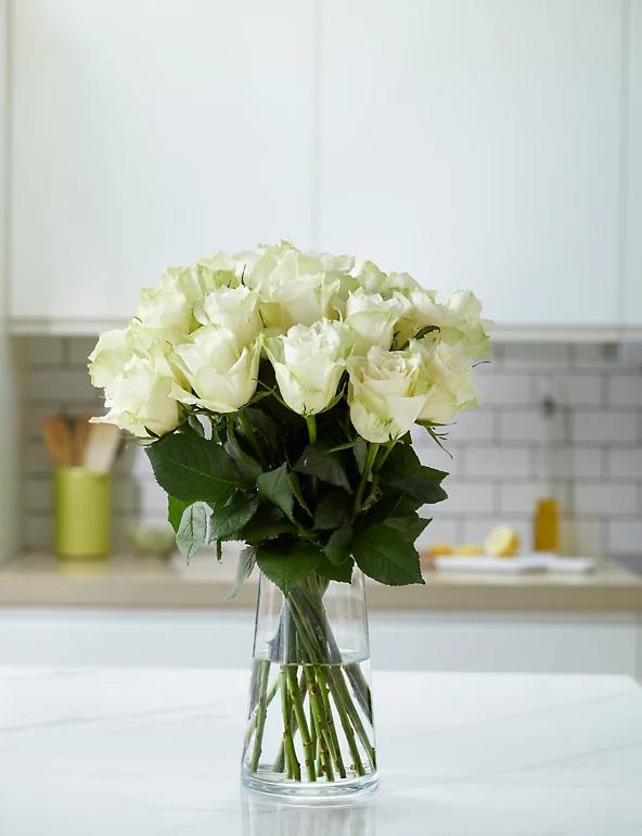 15 White Roses In A Vase
